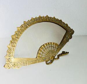 "9"" x 16"" Antique Bronze Fan Shaped Vanity Boudoir Etched Mirror Frame Spanish"