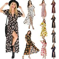Womens Sexy V-neck Floral Slit Maxi Dresses Ladies Summer Holiday Beach Sundress