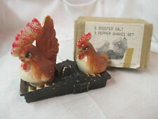 Tilso Japan ceramic Salt & Pepper Shakers w/ Holder Roosters on the Roof Box
