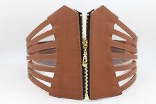 Women Sexy Cinch Belt Stretch High Waist Wide Brown Stripes Corset Zipper M L