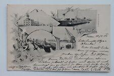 30150 AK DRESDEN Friedrichstadt König Albert Hafen Schiffe Kräne Elbe 1913