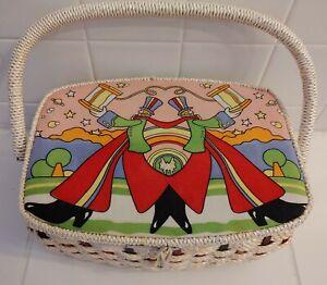 BELDING CORTICELLI Wicker Sewing Box Vintage Retro 70s RARE! Great Condition!