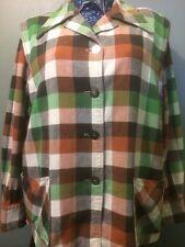 Vtg 40s 50s Womens Plaid Cotton Swing Coat Pendleton Style Jacket Rockabilly VLV