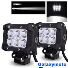 """2x 3.5"""" Cree White 6 LED 18w Flood Beam Off Road Roof Cab Driving Work Light bar"""