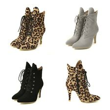 Lady's Side Zip Suede Fabric Ankle Boots High Heel Pointed Shoes Lace-Up Booties