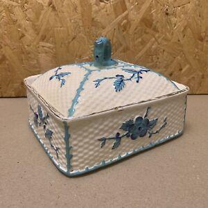 Vintage Ceramic Sardine Dish Lidded Basket Weave Pot -Blue Floral & Coral Design