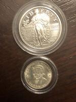 Set of 1/4 1/10 OZ Rare Silver rounds  1/4 Oz Standing Liberty One Balboa  #43