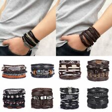 Fashion Multilayer Mens Punk Leather Wrap Braided Wristband Cuff Bracelet Bangle