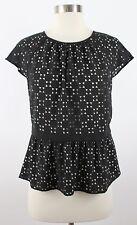Ann Taylor Petite 2P Black Laser Cut Peplum Short Sleeve Blouse Shirt Top