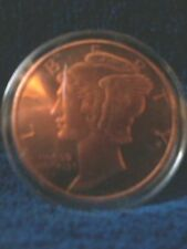 1 OZ COPPER ROUND COIN MERCURY DIME .999 FINE COPPER IN CLEAR PROTEC CASE