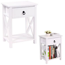 White Finish Nightstand Bedside Table 1 Drawer End Side Storage Shelf Bedroom
