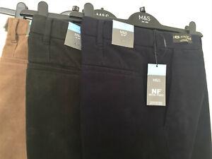 M&S Nova Fides Sizes 38 40 42 Active Waist Italian Moleskin Trousers Free Post