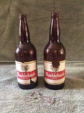 VTG 2 Muehlebach Glass Quart Beer Bottles Empty and Opener Brewed in Kansas City