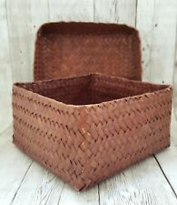 Red Wicker Weave Box Basket Lid Natural Grass Loaf Herbal Panties Bin Decor Gift