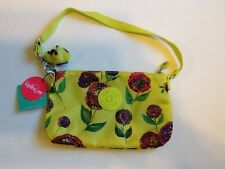 NEW KIPLING ZIP YELLOW FLOWER FLORAL MONKEY KEYCHAIN SHOULDER BAG PURSE