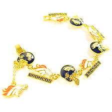 NFL Football Denver Broncos Decorative Gold Charm Bracelet