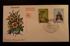 MONACO PREMIER JOUR FDC YVERT   1076/7     BOUQUET DE FLEURS     0,80+1F    1976