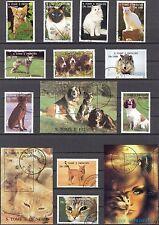 Sao Tome & Principe 1995 Cats Dogs 18+5S/S Used Mi:1548/65 Bl.327/31 100Eur 2sc.