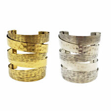 Boho Chic Brass Metal Cuff Bracelet Hammered Accent