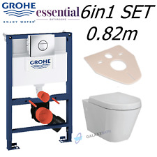 GROHE RAPID SL 0.82m WC FRAME + ESSENTIAL IVY RIMLESS PAN WITH SOFT CLOSE SEAT