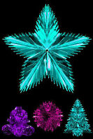 Foil Christmas Hanging Decorations - Star Tree Ball Pink Purple turquoise