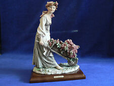 """Armani """"Flower Wagon"""" Peasant Girl, G.Armani Stamped& Hand Signed in Green,Italy"""