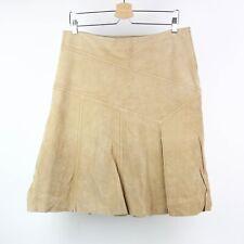 Danier Womens Skirt Leather Tan Lined A-Line