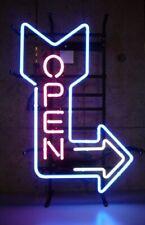 "Open Arrow 17""x14"" Neon Sign Lamp Light Beer Bar With Dimmer"