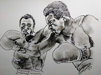 Portrait of Muhammad Ali and Ken Norton Pen and Ink Drawing.Boxing. signed