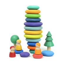 Baby Wooden Rainbow Stone Building Block Educational Creative Stacking Game Toys