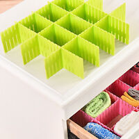 4X Adjustable Drawer Dividers Organiser Socks Make Up Plastic Closet Separators