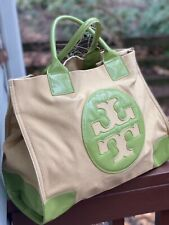 EUC Tory Burch Large Ella Natural Heavy Canvas and Green Patent Leather Tote