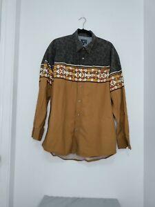 Vintage Roper Brown South Western  Cotton Button Up Long Sleeve Shirt Men's XXL