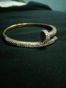 14K Yellow Gold Over 3/4 Ct Round Diamond Women's Cuff Bangle Bracelet 7.5''IN