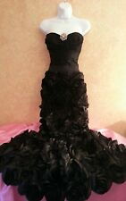 Midnight Rosette Jewel Black Corset Mermaid Maxi Dress Wedding Bridal Gown Party