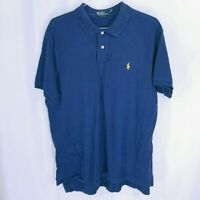 Polo Ralph Lauren Mens Yellow Logo Custom Fit Golf Polo Shirt Blue Size XXL