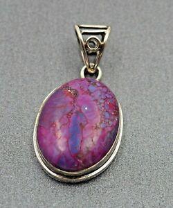 Womens Necklace Purple Jasper Sterling Silver Gemstone Pendant Fine Jewellery