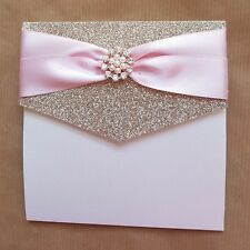 Lizzy champagne pale pink and rose gold glitter pocket wedding invitation