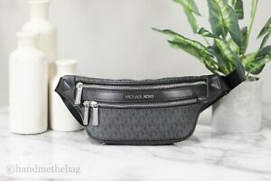 Michael Kors Kenly Small Black Signature Belt Waist Fanny Pack Crossbody Bag