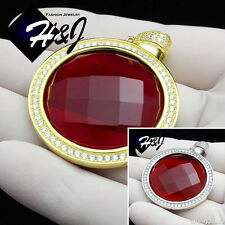 MEN 925 STERLING SILVER HIP HOP SILVER/GOLD SMALL/BIG ROUND RUBY PENDANT*SP98