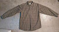 LL Bean Mens Large Long Sleeve Button Down Shirt Green Brown Tartan Plaid Casual