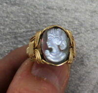 Vintage Black Shell Cameo in 14kt Rolled Gold  Ring Wire Wrapped