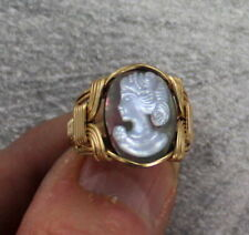 Rolled Gold Ring Wire Wrapped Vintage Black Shell Cameo in 14kt