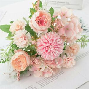7head Artifical Fake Flower Lifelistic Peony Leaf for Wedding Bride Bouquet Pink