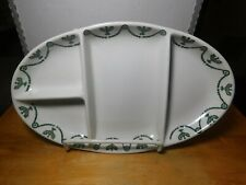 """Plate~O.P. China Syracuse St. Elmo 11.5"""" x 7"""" 4 Section Serving Platter Green"""