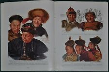 1936 NOMADS OF CENTRAL ASIA magazine article, natives, Tekes Valley, color art