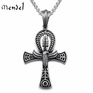 MENDEL Mens Ancient Egyptian Ankh Cross Pendant Necklace Stainless Steel Chain