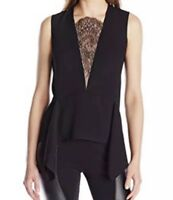 BCBG Maxazria Women's Blouse Whitlee Lace Block Top Black Sleeveless Size S