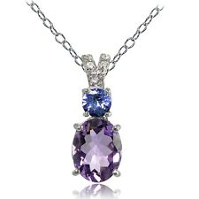 925 Silver 1.75ct TGW Amethyst and Tanzanite with White Topaz Oval Necklace
