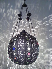 BR258 Vintage Handmade Jeweled Moroccan Large Brass Ball hanging Lamp / Light